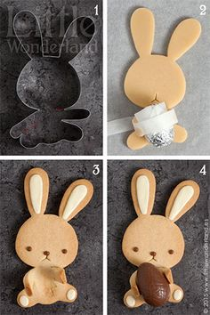 Conejito de Pascua (galletas decoradas con chocolate) / Easter bunny (cookies decorated with chocolate) Osterhase (mit Schokolade verzierte Kekse)