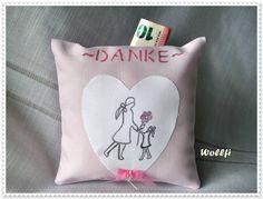Danksagungskarten - Geschenk Erzieherin kleines Kissen Dankeschön - ein Designerstück von Wollfi bei DaWanda