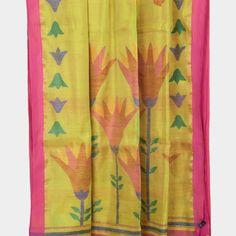 Karomi Lemon Yellow Stargazer Jamdani Handwoven Silk Sari 10000472 - pallu closeup - AVISHYA.COM