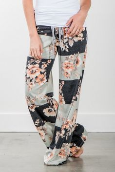 RubyClaire Boutique - Striped Harvest Floral Wide Leg Loungers | Charcoal, $32.00 (https://www.rubyclaireboutique.com/striped-harvest-floral-wide-leg-loungers-charcoal/) Floral Pants | Floral Pajama Pants | Lounge Pants | Yoga Pants | Stripes and Floral