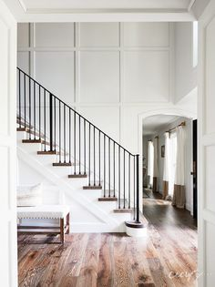 House Tour: California Cool Gambrel - Design Chic Summer's here, and we're celebrating the place where the sun always shines. This house designed by Cecy J Interiors and photographed by John Merkl oozes California cool. Foyer Staircase, Staircase Design, Staircase Ideas, Staircases, Staircase Molding, Staircase Decoration, Entry Stairs, Railing Ideas, Entry Foyer