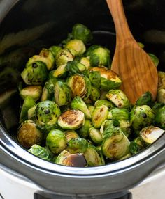 Super Easy Slow Cooker Balsamic Brussels Sprouts. The perfect side dish for Thanksgiving!