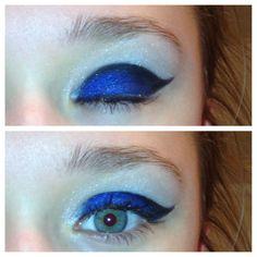 Royal Blue cheerleading make-up.