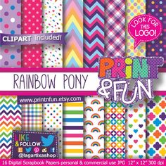 Digital Scrapbook Paper, Printable Scrapbook Paper, Digital Papers, Scrapbooking Album, Rainbow Pony, Backgrounds Girly, Baby Pony, Pattern Paper, Paper Patterns