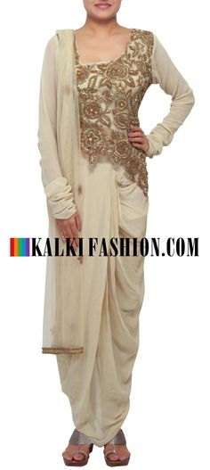 Get this beautiful dress here: http://www.kalkifashion.com/beige-suit-embellished-in-zardosi-matched-with-dhoti-salwar-only-on-kalki.html Free shipping worldwide.