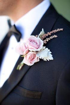 A pink rose boutonniere accented the romantic theme of the wedding. Corsage And Boutonniere, Boutonnieres, Wedding Boutonniere, Floral Wedding, Wedding Colors, Wedding Flowers, Plum Wedding, Bracelet Corsage, Corsage Wedding
