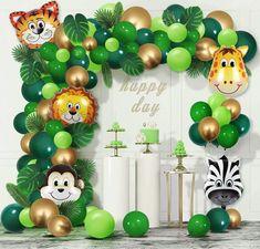Safari Theme Birthday, Jungle Theme Parties, Baby Boy 1st Birthday Party, Birthday Party Themes, Birthday Balloon Decorations, Birthday Balloons, Baby Shower Decorations, Jungle Theme Decorations, Jungle Balloons