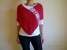 Knit Crochet Crimson Red Afghan Poncho  Stole Wrap by bysweetmom, $69.00