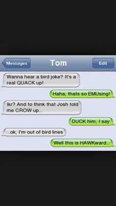 Bird text. Oh gosh