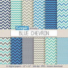 """SALE 50% Blue chevron digital paper: """"BLUE CHEVRON"""" with blue turquois teal light blue soft green and beige chevron patterns a (2.40 USD) by Grepic"""