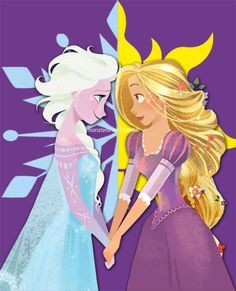 Day 2 - Favourite Princess - Elsa and Rapunzel - I seriously couldn't choose!