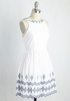 Stitch You Were Here Dress. Trekking about the globe in this white dress, you swap out sending postcards for sharing pics of you in this lovely cotton number. #white #modcloth