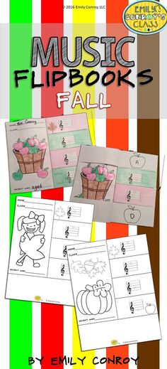 "Fall Music Flipbooks are such a cute craftivitiy for elementary music students! Students color, cut, and glue the craft together and then write the name of each line or space note under the corresponding flap. The four letters under each flap spell a ""secret word"" which I use as an exit ticket for the day!"