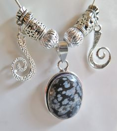 Snowflake Obsidian Pendant on Snake Chain with by SheSellsJewels, $25.00
