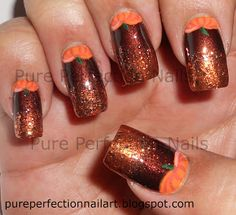 """Pumpkin Hunt"" Halloween, Fall, Thanksgiving Nail Art check out www.MyNailPolishObsession.com for more nail art ideas."