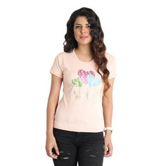 This stretchable top has colorful and shiny patch on it which makes it more attractive.