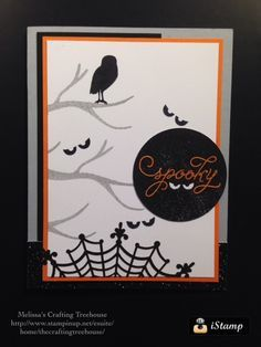 Stampin'Up! Holiday Catalog 2015 - 2016 Halloween card using Among the Branches stamp set with Spider web doilies