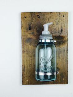 Industrial Half Gallon Wall Mount Mason Jar Foaming Soap Dispenser, in Aqua or Clear