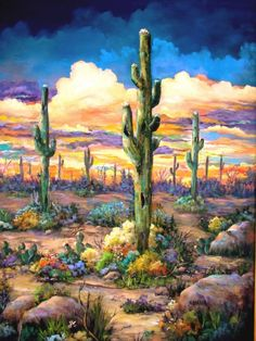 Desert sunsets,Southwest Paintings, Arizona Landscapes by Brenda Bowers Desert Art, Desert Sunset, Sonora Desert, Cactus Painting, Cactus Art, Landscape Art, Landscape Paintings, Art Paintings, Southwest Art