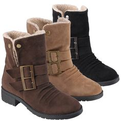 @Overstock - You can feel warm and in style with these fashionable Muscle pull-on booties by Hailey Jeans Co. These faux suede ankle boots feature two buckle accents, faux fur trim and mid-height heels.http://www.overstock.com/Clothing-Shoes/Hailey-Jeans-Co.-Womens-Muscle-Round-Toe-Buckle-Detail-Bootie/7279911/product.html?CID=214117 $35.09