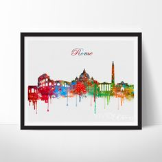 Rome Italy Skyline, Cityscape Watercolor Art. This art illustration is a composition of digital watercolor images and silhouettes in a minimalist style.