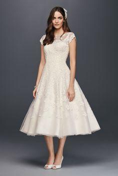 Oleg Cassini Cap Sleeve Illusion Wedding Dress Style CMK513