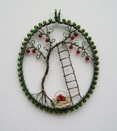Apple Picking wire wrapped pendant by LouiseGoodchild on Etsy, £29.00