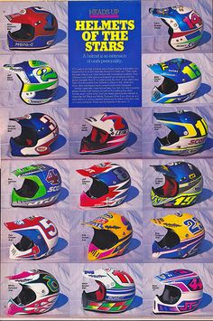 Helmets of the MX stars 1988