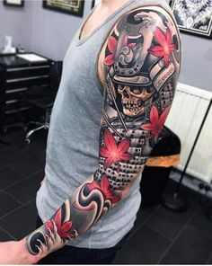 Neo-traditional sleeve, a fallen Samurai with arrows in his chest. Tattoo by Joe Carpenter, an artist based in Norwich, England. Japanese Tattoo Designs, Japanese Sleeve Tattoos, Best Sleeve Tattoos, Best Tattoo Designs, Tattoo Sleeve Designs, Cover Up Tattoos, Arm Tattoos, Body Art Tattoos, Cool Tattoos