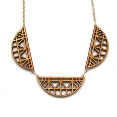 Linked Truss Necklace Laser Cut Wood Geometric by ShopJoyo on Etsy, $45.00