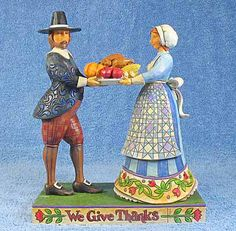 """Jim Shore Pilgrims """"We Give Thanks"""""""
