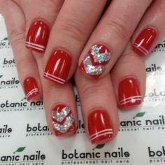 Love the double pin stripe Nails Only, Love Nails, Pretty Nails, Beautiful Nail Designs, Cute Nail Designs, Holiday Nails, Christmas Nails, Chevron Christmas, Botanic Nails