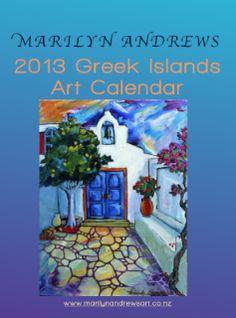 Art Calendar, Greek Islands, Galleries, Painting, Greek Isles, Painting Art, Paintings, Painted Canvas, Drawings