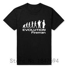 d47614acacc Evolution Of A Fireman Gift Firefighter T Shirt T-Shirt Summer Style Short  Sleeve Tops