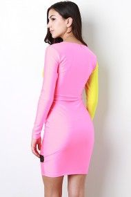 Two Tone Mesh Panel Dress #Urbanog