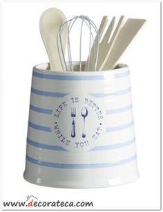 Bote de utensilios de cocina marinero Egea azul. Decoración navy. WWW.DECORATECA.COM