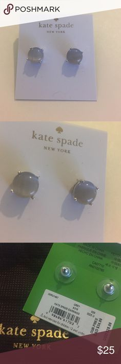 "Kate Spade Stud Earrings Comes with Kate Spade Dust Bag Approx. diameter: 3/8"". Metal:Silver plated base Material:Crystal.                                                           Color: Grey/Silver.                                                                     💖 kate spade Jewelry Earrings"