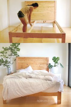 Give your bedroom a custom made look by trying out one of these budget DIY bed frame ideas. You'll save yourself hundreds! Bed Frame And Headboard, King Bed Frame, Wood Headboard, Fabric Headboards, Upholstered Headboards, Headboard Ideas, Bed Frames, Diy Queen Bed Frame, Diy Bed Frame Plans