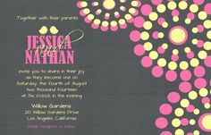 Custom Love Birds and Circles Wedding Invitation by Joyinvitations,