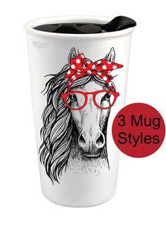 Bandana Horse Custom Coffee Cup - Horse Ceramic Travel Mug - Horse Coffee Tumbler - Personalized Cof Mom Tumbler, Coffee Tumbler, Tumbler Cups, Custom Coffee Cups, Cup Crafts, Tumblers With Lids, Tumbler Designs, Bandana, Cheer