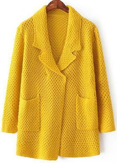 Yellow Lapel Long Sleeve Pockets Knit Sweater - abaday.com