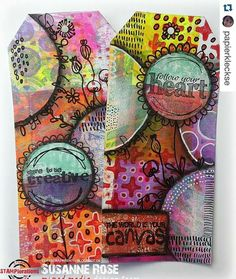 Gelli Plate prints - Gorgeous mixedmedia tags by @papierkleckse.