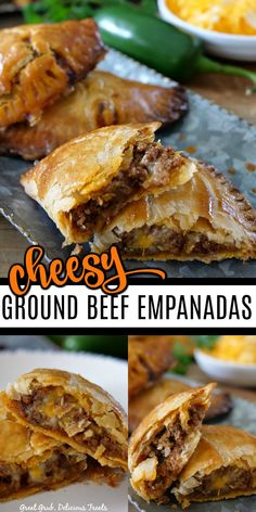 Cheesy Ground Beef Empanadas have a flaky crust and are full of deliciously seasoned ground beef, loaded with two types of cheese and then baked to perfection. with ground beef Cheesy Ground Beef Empanadas Meat Recipes, Mexican Food Recipes, Appetizer Recipes, Cooking Recipes, Salmon Recipes, Shrimp Recipes, Beef Appetizers, Meatloaf Recipes, Recipes Dinner