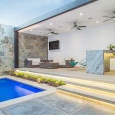 Área Exterior MAC: Terrazas de estilo por S2 Arquitectos Brick Design, Patio Design, Exterior Design, House Design, Casa Patio, Backyard Patio, Rooftop Terrace Design, Best Above Ground Pool, Hotel Swimming Pool