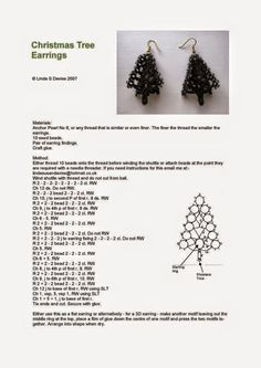 Free Tatting Patterns Beginners   Free Christmas Tree Earrings Pattern
