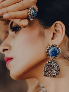 Buy Silver Plated Lapis Lazuli Semi Precious Stone Brass Jhumkies online at Theloom