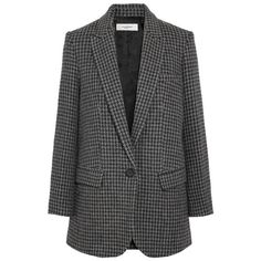 ETOILE ISABEL MARANT Ice Houndstooth Wool-Blend Blazer (28.150 RUB) ❤ liked on Polyvore featuring outerwear, jackets, blazers, hounds tooth jacket, grey blazer, gray jacket, blazer jacket and grey blazer jacket