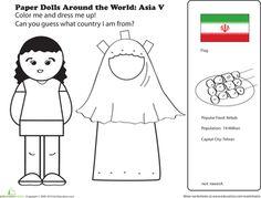 Worksheets: Paper Dolls Around the World: Asia V
