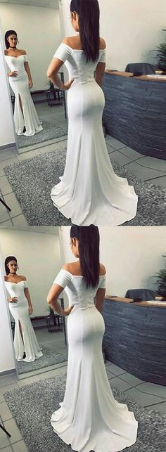 Mermaid Off-The-Shoulder White Long Prom Dress #promdress #promdresses #longpromdresses #whitepromdresses #eveningdress #eveningdresses