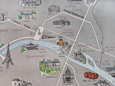 This is an amazing vintage school map of Paris, showing the French capital and many of its attractions, including the train stations and the Eiffel Tower. Train Station Map, Train Stations, Vintage Maps, French Vintage, Vintage Posters, French Industrial Decor, Paris Map, French School, School Posters